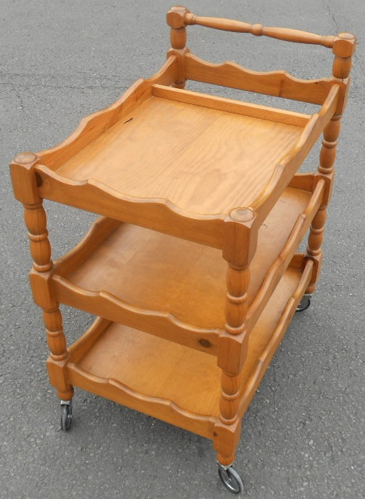 retro metal kitchen cabinets farmhouse sink for sale three tier wooden tea trolley dinner wagon - sold